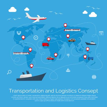 Vecteur plat concept de transport illustration mondiale. dessin vectoriel.