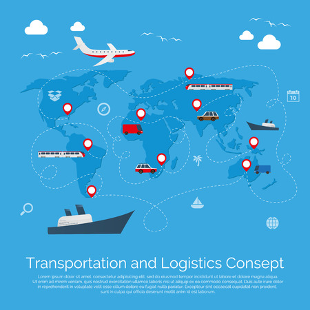 Vector Flach globalen Transport-Konzept Illustration. Vektor-Design.