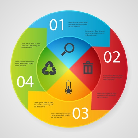 business service: Design elements business presentation on circle arrow with icons recicle ecology. search trach temperture
