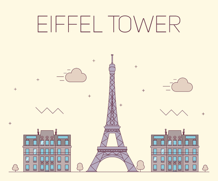pictorial art: Eiffel tower in Paris. Vector illustration on yellow background