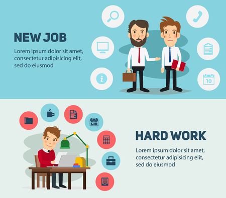 hard day at the office: New job search and stress work infographic. Cv, head hunters, job search, new work. Labor Day. Office life and business man. Business situation. People in action. Computer, table, books, clock bright background. Illustration