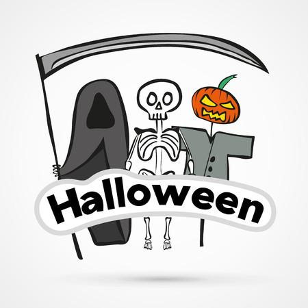 stiker: Vector funny halloween stiker hand drawn vector illustration