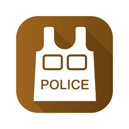 bulletproof: Bulletproof vest flat linear long shadow icon. Vector line symbol Illustration
