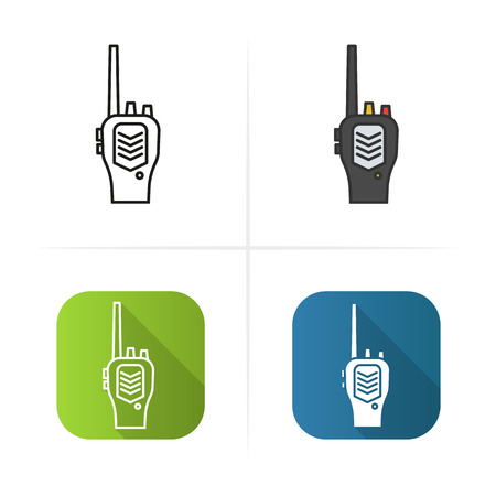 transceiver: Radio transceiver icon. Flat design, linear and color styles. Isolated vector illustrations Illustration