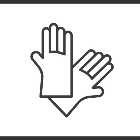 dish washing gloves: Latex gloves linear icon. Rubber arms thin line illustration. Vector isolated outline drawing