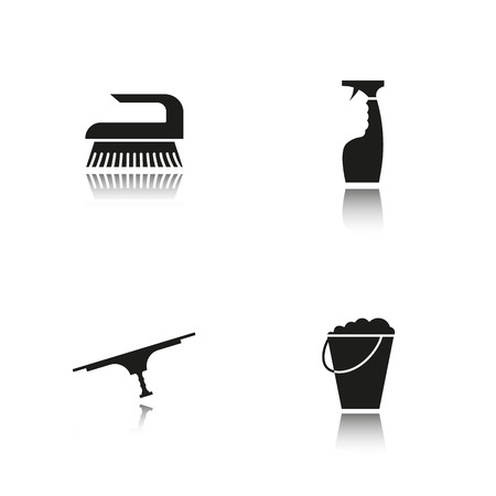 Cleaning item tools drop shadow black icons set. Bucket with foam, glass cleaning spray, tool for window cleaning, brush symbol. Isolated vector illustrations