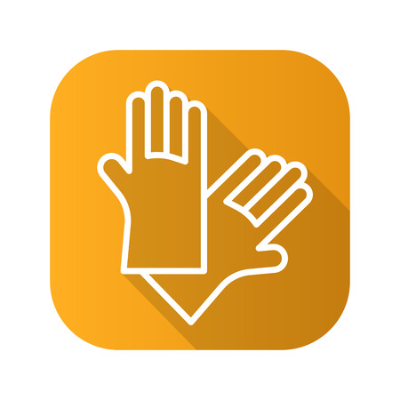 Latex gloves flat linear long shadow icon. Vector line symbol of rubber arms.