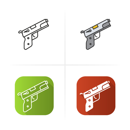 possession: Gun icon. Flat design, linear and color styles. Isolated vector illustrations