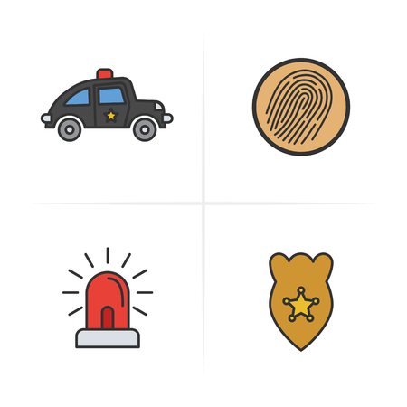 Police color icons set. Car, finger print, flasher, police badge. Isolated vector illustration