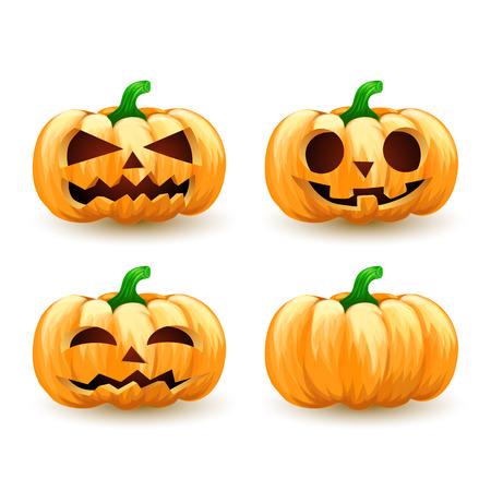 jack o  lanterns: Cartoon pumpkin head set spooky halloween jack o lanterns. Illustration