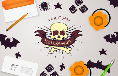 view from above: Halloween holiday background with hand drawn symbol of skull. View from above.