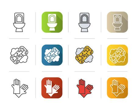 Outils de nettoyage icons set. design plat, linéaire et couleur styles. Toilettes, une éponge avec de la mousse, symbole des gants en latex. illustrations vecteurs isolés