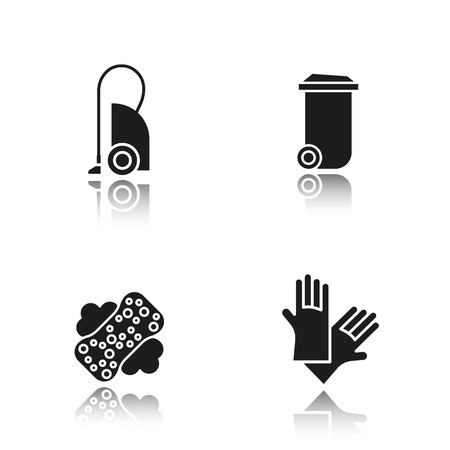 rubber gloves: Cleaning item tools drop shadow black icons set. Vacuum cleaner, trash can, sponge with foam, rubber gloves. Isolated vector illustrations