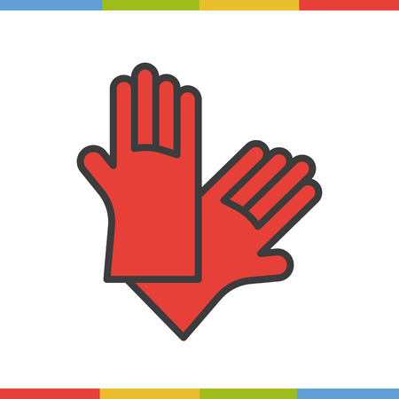 latex glove: Latex gloves color icon. Rubber arms in red. Isolated vector illustration.