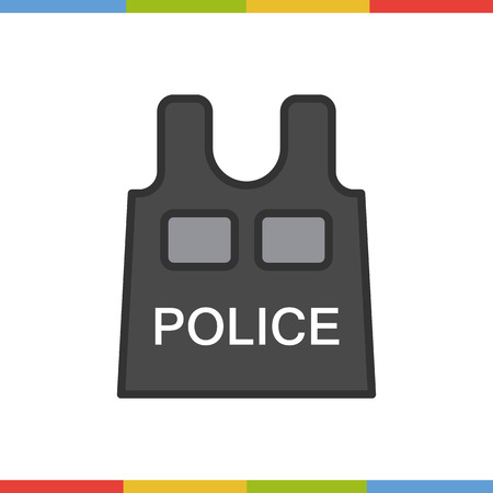bullet proof: Bulletproof vest color icon. Isolated vector illustration.