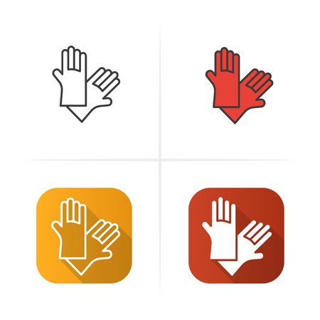 latex glove: Latex gloves icon. Flat design, linear and color styles. Isolated vector illustrations Illustration