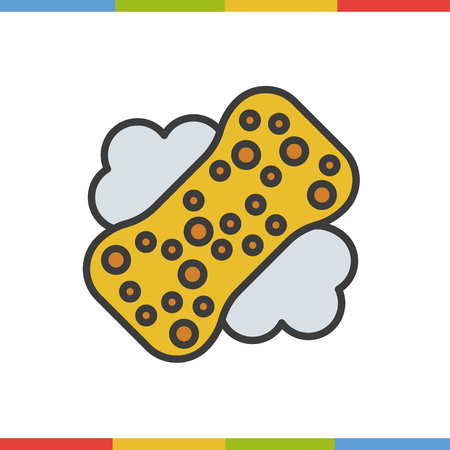 Sponge with foam color icon. Isolated vector illustration Illustration