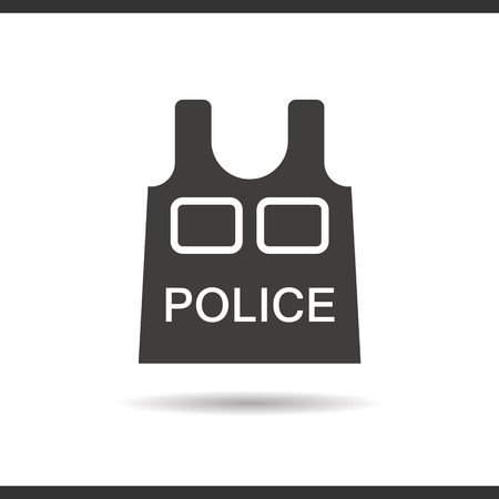 bullet proof: Police bulletproof vest icon. Drop shadow silhouette symbol. Negative space. Vector isolated illustration Illustration