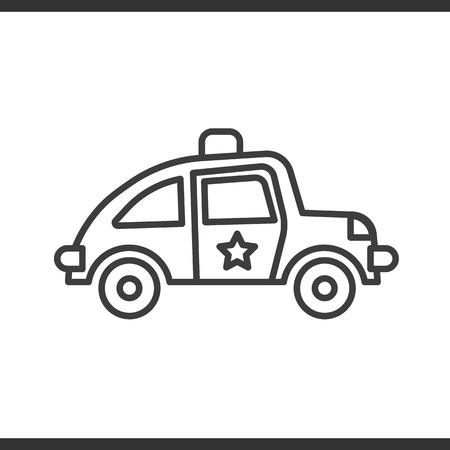 Icône linéaire de voiture de police. Illustration de la ligne mince dessin de contour isolé