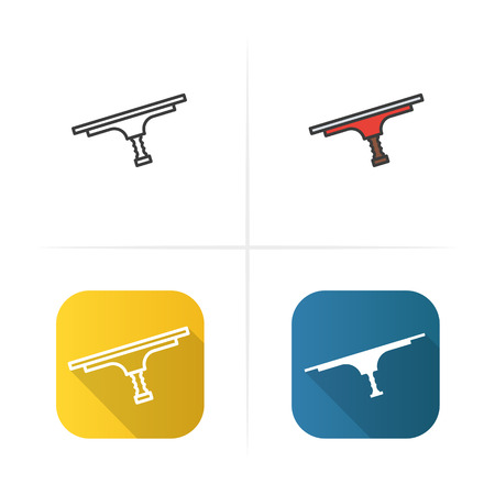 Tool for window cleaning icon. Flat design, linear and color styles. Isolated vector illustrations Illustration