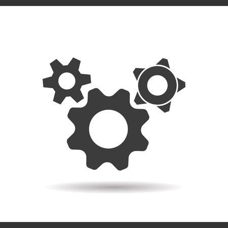 engineering icon: Gears options icon. Drop shadow silhouette symbol. Negative space. Vector isolated illustration Illustration