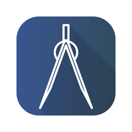 Divider flat linear long shadow icon. Vector line symbol