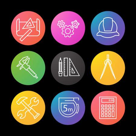 Engineering-lineare Symbole gesetzt. Zeichnung, Getriebe, Helm, Bremssattel, Teiler, Hammer und Schraubenschlüssel, Maßband, Taschenrechner, Bleistift mit Linealen beobachten UI-Stil