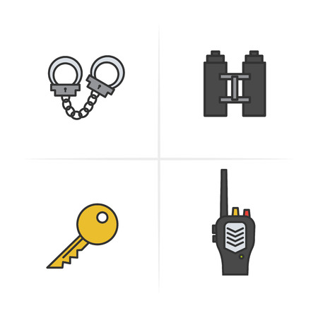 Police color icons set. Key, radio, handcuff, binoculars symbol. Logo concepts Vector isolated illustration