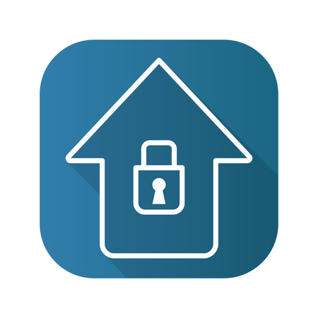 home ownership: Home security flat linear long shadow icon. Vector line symbol.
