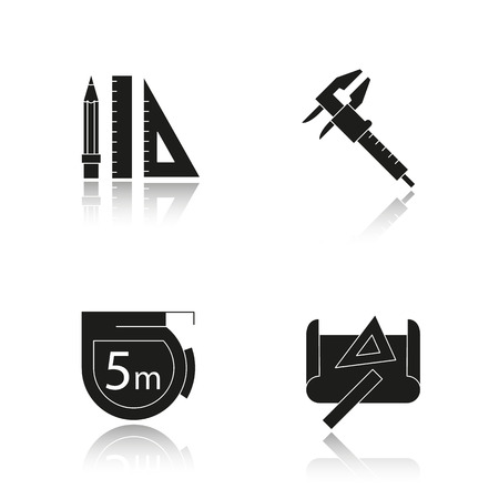 Engineering drop shadow black icons set. Pencil and ruler, caliper, measuring tape, drawing and measuring rulers . Isolated vector illustrations Illustration