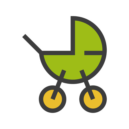 Baby carriage color icon. Isolated vector illustration on white background