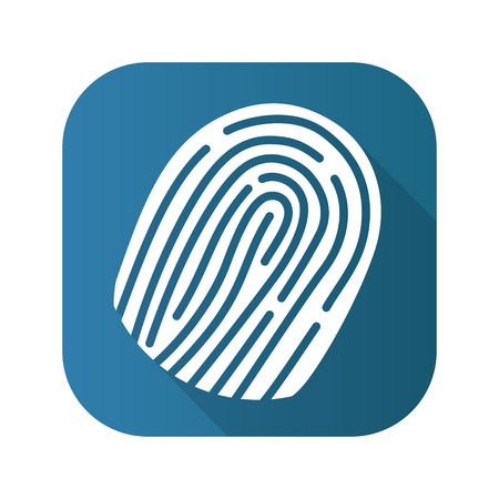 odcisk kciuka: Fingerprint flat design long shadow icon. Vector silhouette symbol