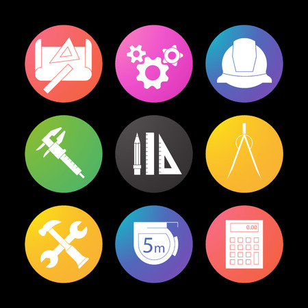 Engineering silhouette icons set. Drawing, gears, helmet, caliper, divider, hammer and wrench, measuring tape, calculator, pencil with rulers. Smart watch UI style.