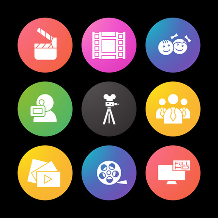 Filming silhouette icons set. Movie clapperboard, video film, play button, videographer, children. Smart watch UI style.