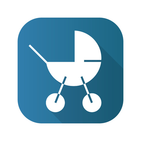 Baby carriage flat design long shadow icon. Vector silhouette symbol. Stock Photo
