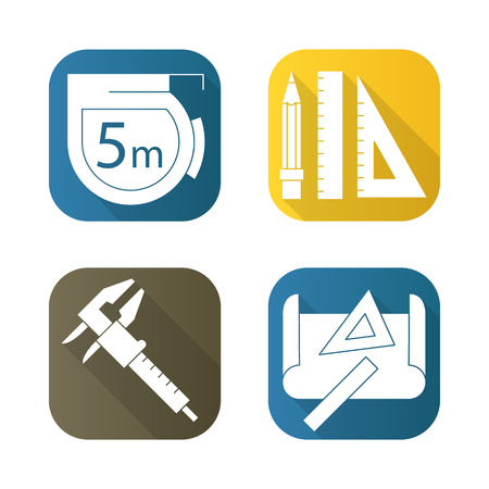 engineering tools: Engineering tools flat long shadow icons set. Caliper, pencil and ruler, measuring tape, drawing rulers. Isolated vector illustration. Stock Photo