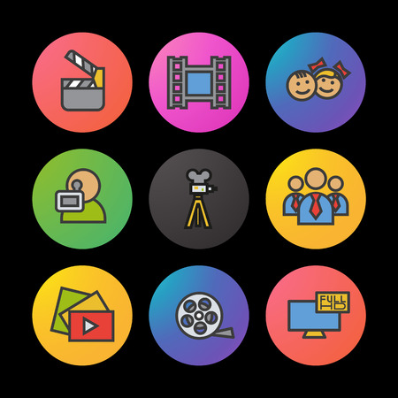 Filming color icons set. Movie clapperboard, video film, play button, videographer, children. Smart watch UI style.