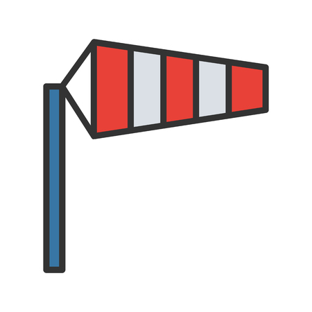 windsock: Airport windsock color icon. Isolated vector illustration on white background.