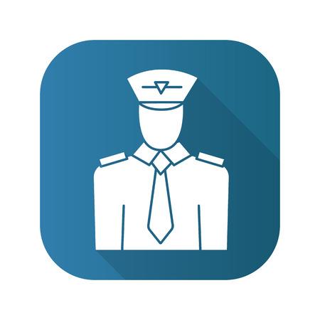 Pilot flat design long shadow icon. Vector silhouette symbol.