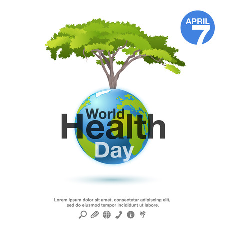 globe logo: World Health Day poster or banner background with planet and green tree.