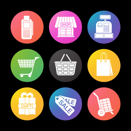 Shopping color icons set. Cash register, bag, tags, basket on wheels, store, gift box. Smart watch UI style.
