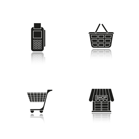 simple store: Shopping drop shadow black icons set. Card terminal, basket, cart, store symbol. Isolated vector illustrations.