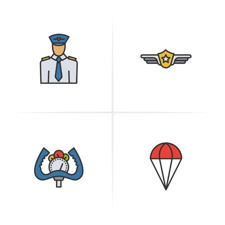 Pilot color icons set. Pilot label, aircraft control wheel, parachute symbol. Logo concepts. Vector isolated illustration.