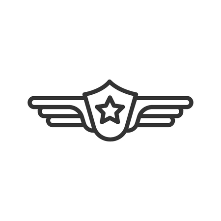 Pilot label linear icon. Thin line illustration. Vector isolated outline drawing.