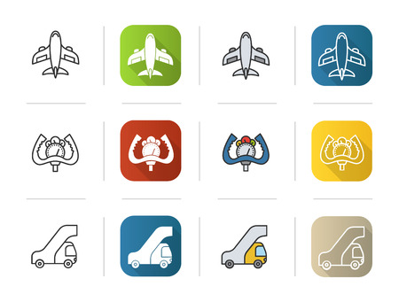 Airport icons set. Flat design, linear and color styles. Aircraft, control wheel, passengers ladder symbol. Isolated vector illustrations. Illustration