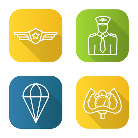 Pilot flat linear long shadow icons set. Pilot label, aircraft control wheel, parachute symbol. Vector line illustration.