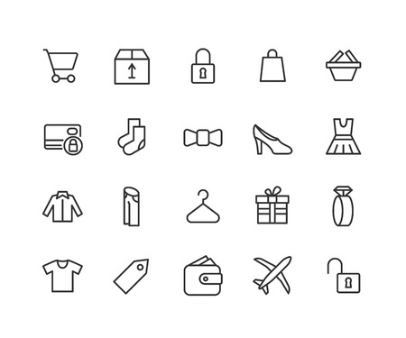 Simple Set of Shopping Related Vector Line Icons. Contains such Icons as Clothes, Payment Options, Jewelry and more. Editable Stroke. 48x48 Pixel Perfect.
