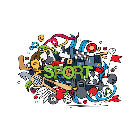 Sport hand lettering and doodles elements background. Vector illustration.
