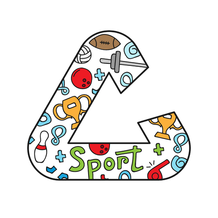 Colorful vector hand drawn logo of Sport cartoon doodle objects, symbols and items.