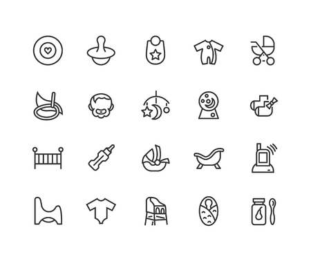 Simple Set of Child care Related Vector Line Icons. Contains such Icons as Baby toys, feeding, care and more.  イラスト・ベクター素材